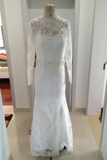Lace Wedding Dresses,O-Neck Long Sleeve Sweep Train Appliques Wedding Dresses,Mermaid Wedding Gowns Dress