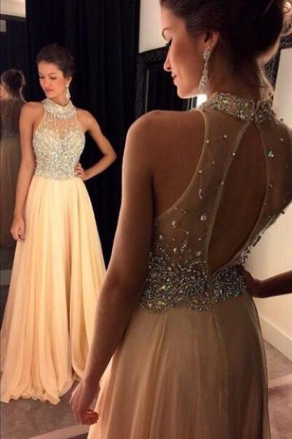 New Arrival Elegant Prom Dresses,Sexy Chiffon Evening Dresses,High Neck Beaded Homecoming Dress,Long Party Dress