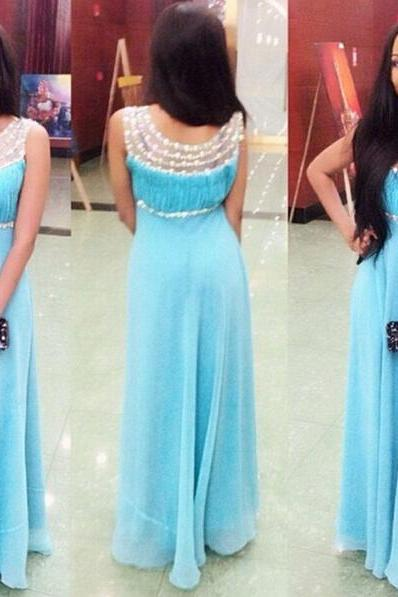 Prom Dress,Long Prom Dresses,Sexy Evening Dress with Beaded, Light Blue Formal Dress F098