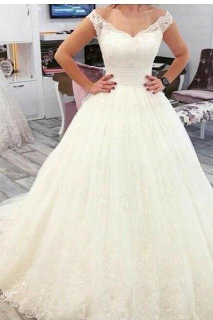 Wedding Dress,A Line Wedding Dresses,Tulle Bridal Dress with Lace F093