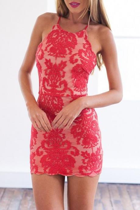 New Arrival Red Lace Evening Dress,High Neck Backless Prom Dress, Sexy Prom Party Gown Dress F106