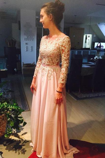 Custom Made Prom Dresses Scoop Full Sleeve Backless Sweep Train Chiffon with Applique Evening Dresses Sexy Party Gowns F121