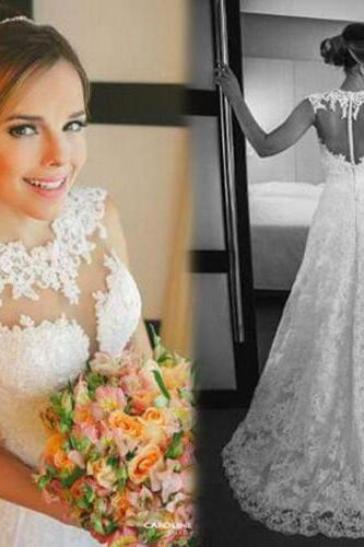 Long Wedding Dress,Tulle and Lace Wedding Dresses,A Line Bridal Dress