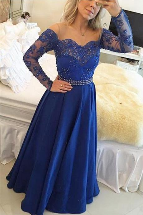 Sexy Evening Dress,Long Sleeve Beaded Prom Dress,Long Evening Dress,Floor Length Formal Dress F252