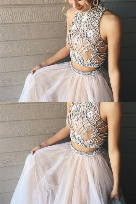 Charming Prom Dress,Sleevelss Backless Prom Dress,Two Piece Tulle Prom Dress,Halter Evening Dress,Backless Party Dress F446