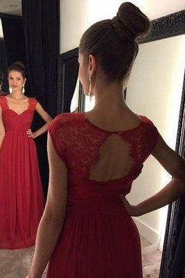 Charming Prom Dress,Chiffon Red Prom Dress,Long Evening Dress,Formal Dress F459