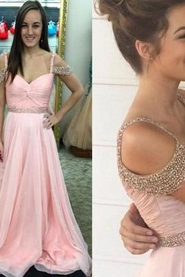 Charming Prom Dress,Cap Sleeve Chiffon Prom Dress, Evening Dress,Long Evening Gown,Formal Dress F488