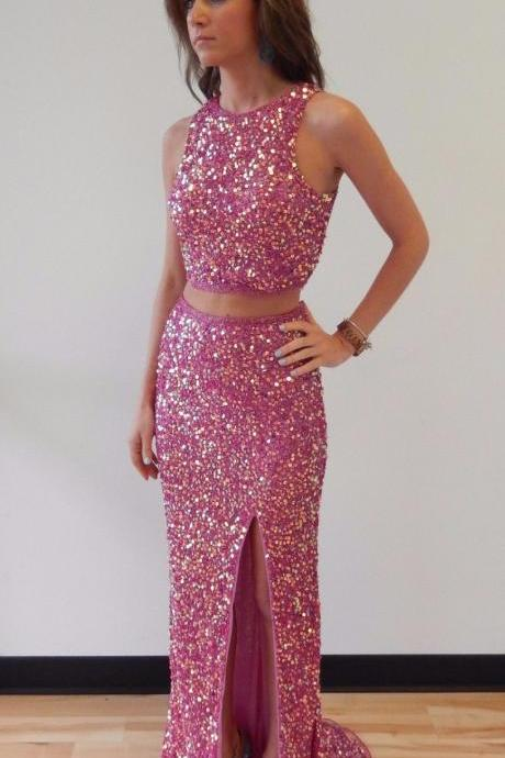 Charming Prom Dress,Sleeveless Two Piece Prom Dress,Sexy Prom Dresses with Slit,Long Prom Dress F510