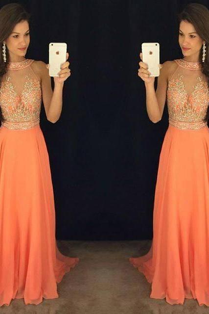 Charming Prom Dress,Sleeveless Chiffon Long Prom Dress, Long Evening Dress,Formal Dress F620