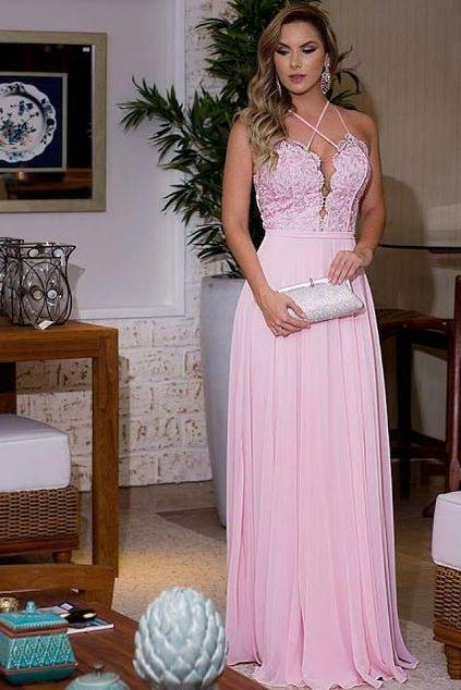 Long Evening Dress,Sleeveless Pink Evening Dresses,Chiffon Backless Prom Dress F762