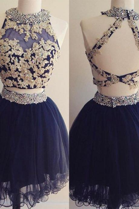 Sexy Prom Dress,Sleeveless Evening Dress,Two Piece Prom Gown,Tulle Party Dress F838