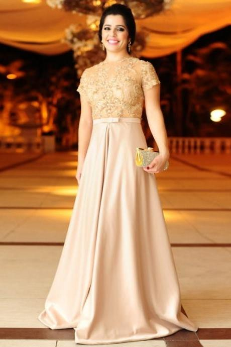 New Arrival Cap Sleeve Evening Dress,A Line Evening Dress,Sexy Appliques Prom Dresses,Formal Gowns F959