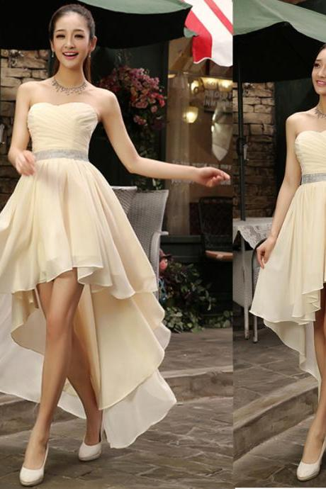 New Arrival High Low Prom Dress,Sleeveless Evening Dress,Sexy Prom Dresses,Chiffon Party Dress F928