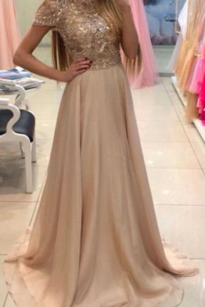 New Arrival Cap Sleeve Evening Dress,Chiffon Prom Dresses,Sexy Prom Dresses,Formal Dress F989