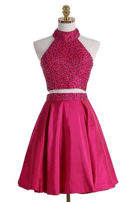 New Arrival Sleeveless Backlesss Prom Dress,Beaded Two Piece Prom Dresses,Mini Homecoming Dress F1003