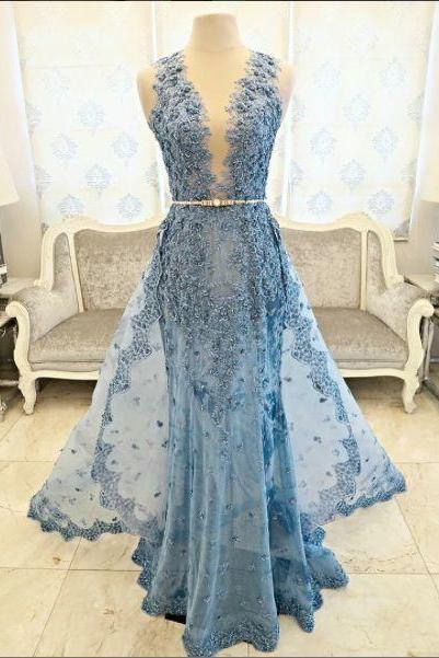 Sexy Prom Dress,Sleeveless V Neck Lace and Appliques Prom Desses Evening Dress,Long Evening Gowns,Formal Dress F1072