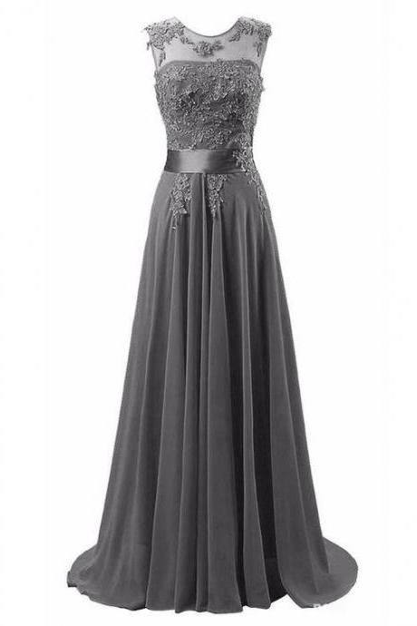 Sexy Prom Dress,Sleeveless Appliques Prom Dress,Chiffon Evening Dress,Long Evening Gowns F1114
