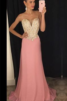 Strapless Sweetheart Plunging Beaded Mermaid Chiffon Long Prom Dress, Evening Dress