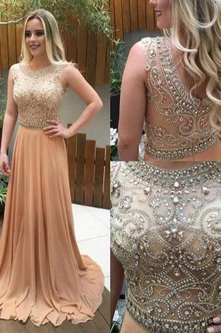 Blue O Neck Prom Dress,Sleeveless Prom Dress with Crystal ,Long Prom Dresses,Formal Gowns F1173