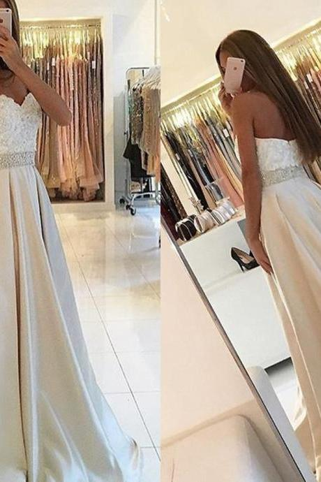 Sleeveless Prom Dress,Sweetheart A Line Evening Dress,Long Prom Dresses,Formal Gowns F1201