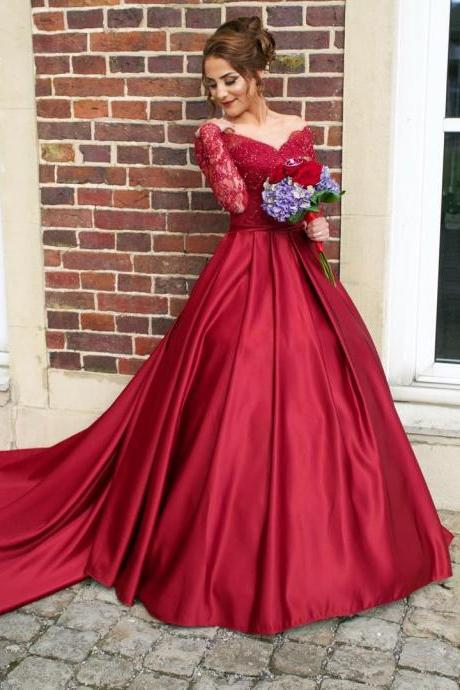 2017 Full Sleeve Evening Dress,Red A Line Evening Gowns,Formal Dress F1225