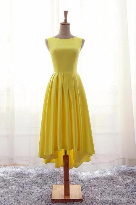 Sleeveless Prom Dress ,Real Photo Yellow Prom Dresses,Elegant Evening Dress F1264