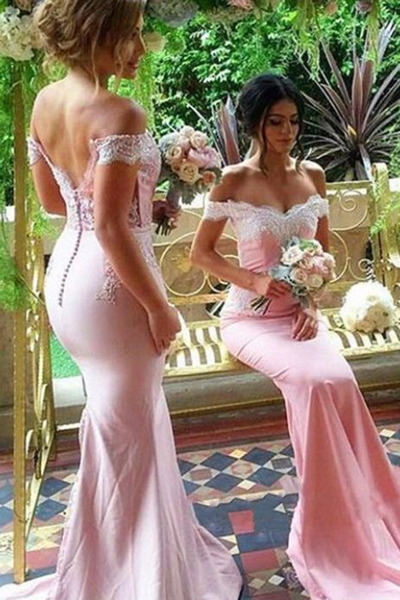 Off Shoulder Mermaid Bridesmaid Dresses,Wedding Party Dress,Burgundy Wedding Guest Dresses F1271