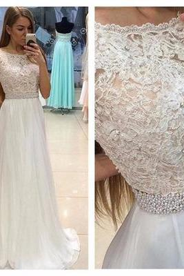New 2017 A Line Cap Sleeves Sweep Train Long Evening Dress,Lace Top Appliques Prom Dress,Wedding Party Dress F1288