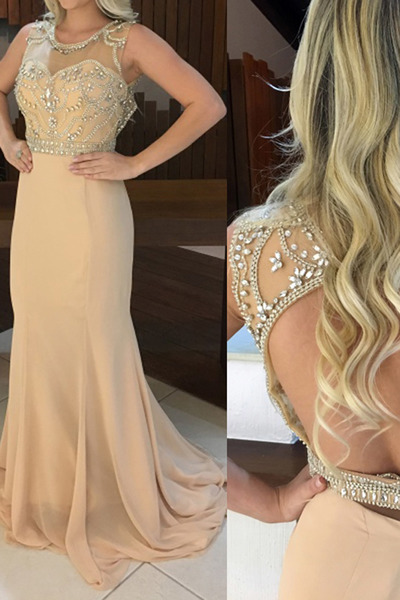 Sexy Chiffon Prom Formal Party Gowns,Sexy Sleeveless Crystal Evening Dress,Formal Gown F1352