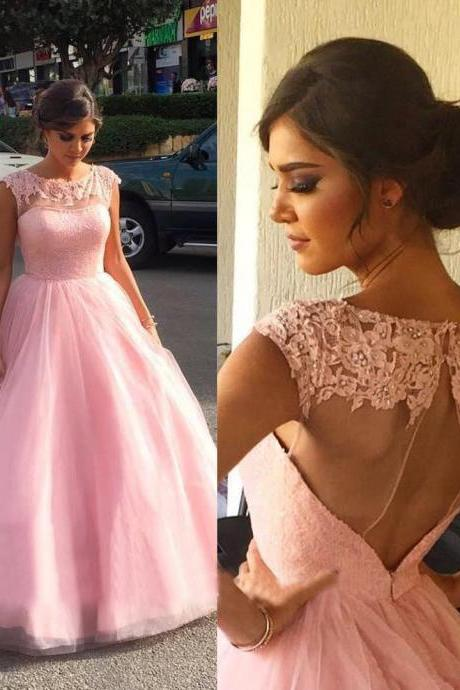 Elegant Prom Dress,Pink Prom Dresses,Appliques Evening Dress,Formal Prom Dresses,Beaded Formal Gown