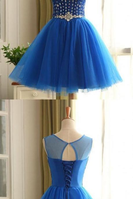 Charming Prom Dress,Elegant Prom Dress, Tulle Prom Dresses,Short Prom Gown,Blue Homecoming Dress F2001
