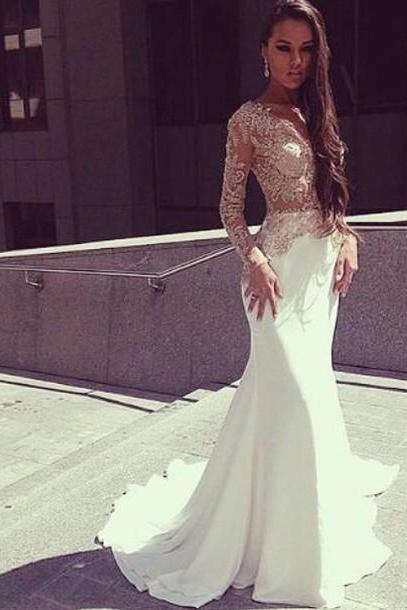 Charming Prom Dress,Long Sleeve Prom Dress,Long Prom Dresses,Appliques Prom Dresses ,Mermaid Evening Dress F2057