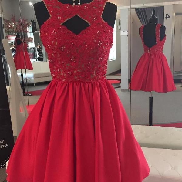 Charming Prom Dress, Sleeveless Lace Prom Dress , Elegant Homecoming Dress, Short Tulle Homecoming Dresses F4493
