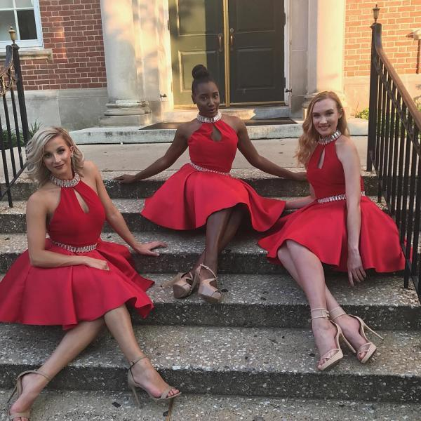 Charming Prom Dress, Red Prom Gowns, Short Prom Dress, Sexy Bridesmaid Dress F4495