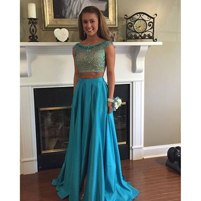 Charming Prom Dress,Sleeveless Two Piece Prom Dress,Sexy Prom Dresses,Long Prom Dress F501