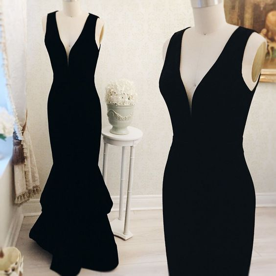 Sleeveless Prom Dress,Mermaid Evening Dress,Long Prom Dresses,Black Formal Gowns F1196