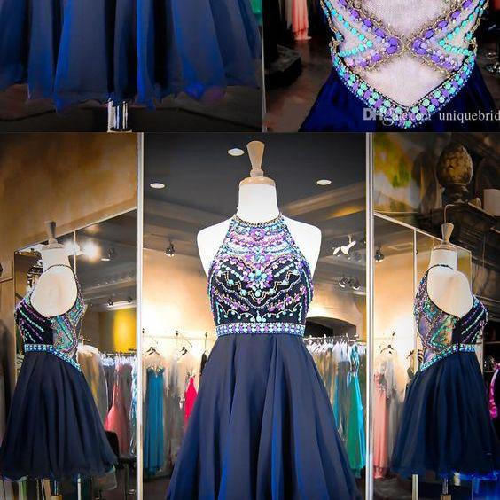 Sexy Charming Halter Prom Dress,Short Beaded Prom Gown,Gergeous Homecoming Dress,See Though Prom Dress F1516
