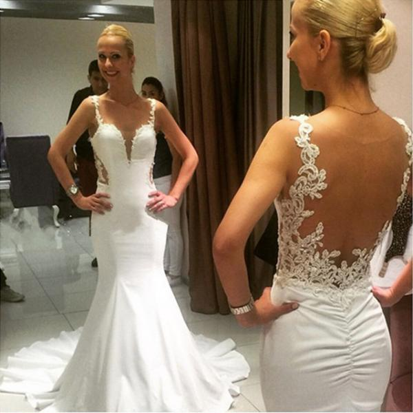 Long mermaid wedding dress sexy backless wedding dresses for Sexy open back wedding dress