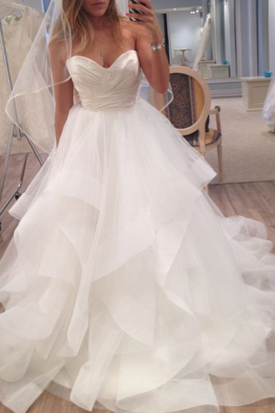 New Arrival Sleeveless Tulle Wedding Dress Ruffles Bridal